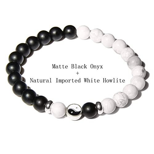 Modis Fengshui Tai Chi Pulseras para Mujeres Hombres Pareja Yin Yang Pulsera Piedra Natural Negro Blanco Brazalete joyería Equilibrio energía