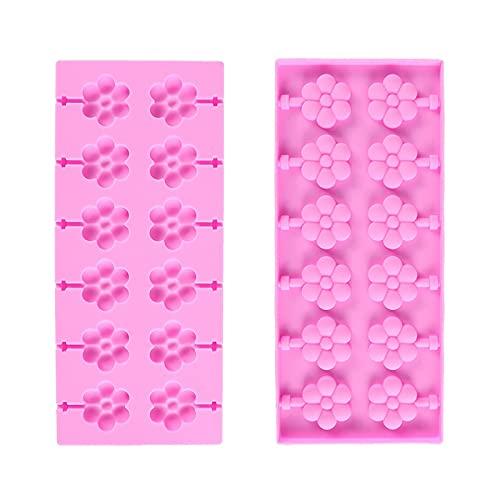 WJCRYPD Molde de Silicona 12 Tipos Silicona Lollipop Molde Flower Candy Moldes de Chocolate Pastel Decoración Forma Hornee Herramienta Herramienta de Lolipops Molde Qf Shop (Color : Flower)