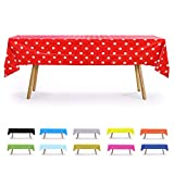 6 CT Premuim 54x108 inch Rectangle Plastic Tablecloth Waterproof Disposable Party Event Decoration Heavy Duty Table Cover(Red Polka Dot)