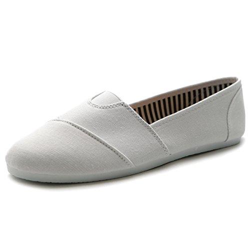 Ollio Womens Shoes Slips on Sneaker Canvas Flats 1ML031 (10 B(M) US, White)