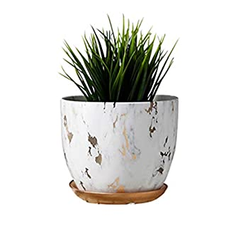 Marble Plant Pot 6 inch Modern Nordic Style Ceramic Marble Look Scrub Pots for Plants-Plant Pots Indoor with Drainage Hole and Ceramic Tray for Succulents/Plants/Flowers