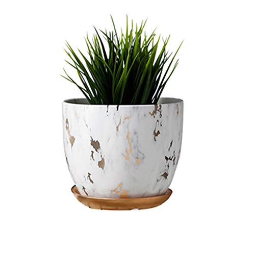 Marble Plant Pot, 6 inch Modern Nordic Style Ceramic Marble Look Scrub Pots for Plants-Plant Pots Indoor with Drainage Hole and Ceramic Tray for Succulents/Plants/Flowers