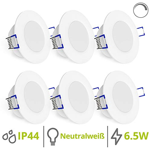 linovum WEEVO 6er Set LED Bad Einbaulampen dimmbar - 6,5W neutralweiß IP44 - runde Deckenlichter 230V mit flachem Einbau 29mm