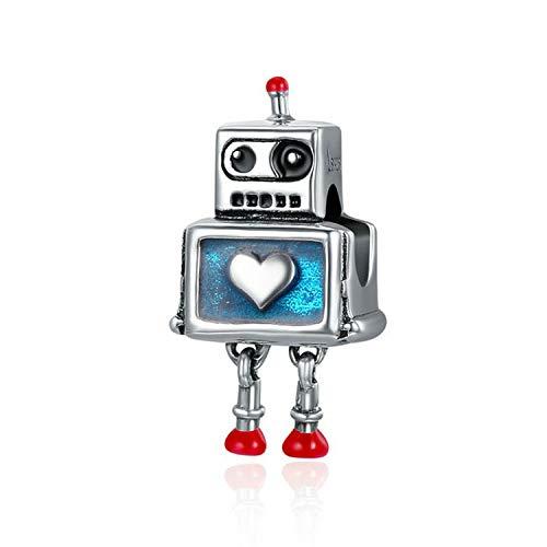MMC Cuentas de Plata con diseño de Robot para Pulseras de Cuentas de Belleza Originales