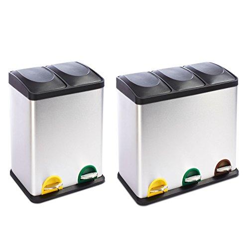 Meisterei Mülleimer Abfallbehälter Abfalleimer mit Inneneimer Mülltrennsysteme Treteimer Edelstahl (Brandon 3 Kammern | 54 Liter)