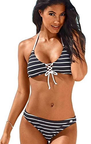 KangaROOS Damen Triangel Bikini Streifen (Schwarz/Weiß, 36A-B)