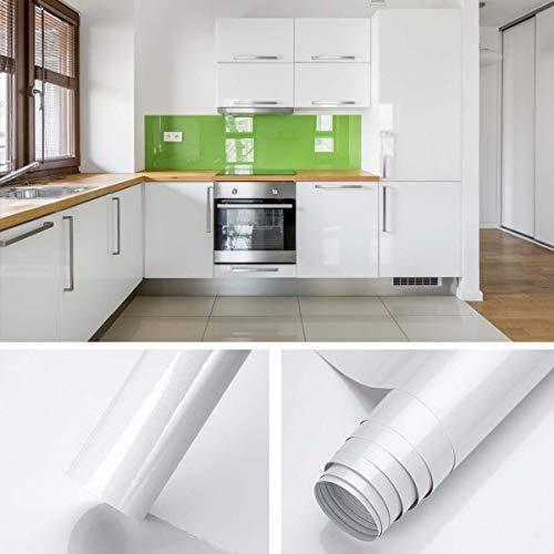 KINLO Glanz Folie - weiss - Klebefolie - 5m x 61cm - Plotterfolie- Folie selbstklebend - auch als Möbelfolie - Küchenfolie