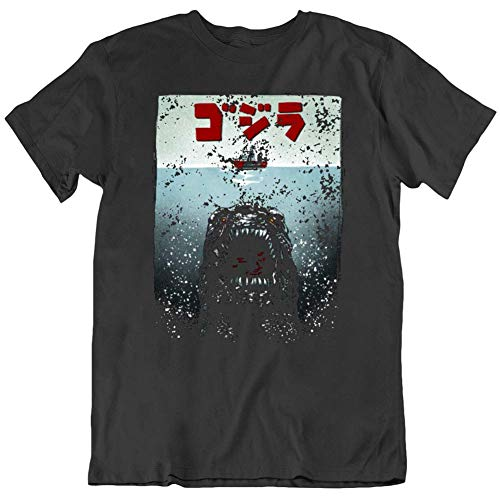 Godzilla Jaws Parody Japanese Movie Fan T Shirt Funny Gift for Men Women Girls Unisex T-Shirt (Black-M)