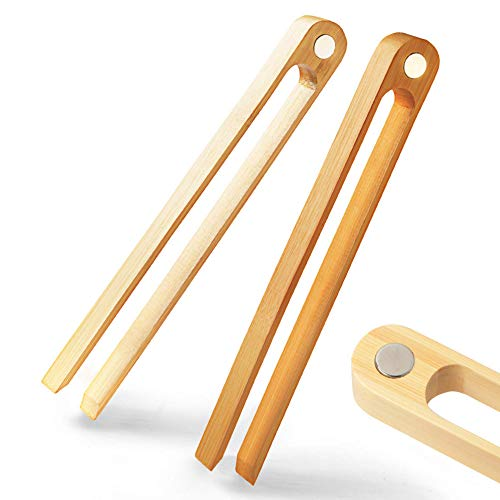 """Magnetic Bamboo Toaster Tongs: 100% Natural 8.7"""" Wood Kitchen Toast Tongs