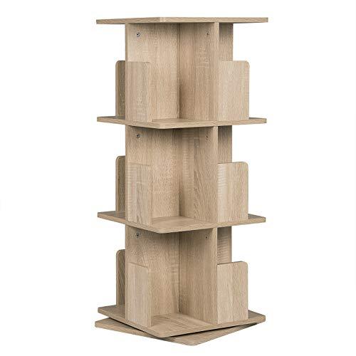 EUGAD 0008SHG drehbares Bücherregal Raumteiler Standregal Drehregal Büroregal Dekoregal 360° frei drehbar mit 3 Ebenen MDF Natur 39x39x97cm