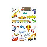 Oblique Unique Kinder Fahrzeug Sticker Set 19 Farbenfrohe Aufkleber zum Spielen Basteln Spielspass Kindergeburtstag - Bagger Rakete Schiff Boot UFO Auto Bus Kran UVM.
