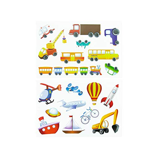 Oblique Unique® Kinder Fahrzeug Sticker Set 19 Farbenfrohe Aufkleber zum Spielen Basteln Spielspass Kindergeburtstag - Bagger Rakete Schiff Boot UFO Auto Bus Kran UVM.