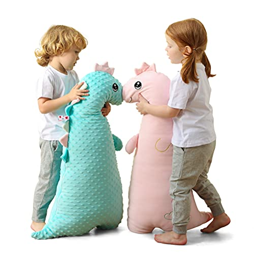 Soft Big Dinosaur Plush Hugging Pillow,Stuffed Animal Doll Toy Kids Gifts for Birthday, Valentine, Christmas ,Nursery,Room Decor (Pink)