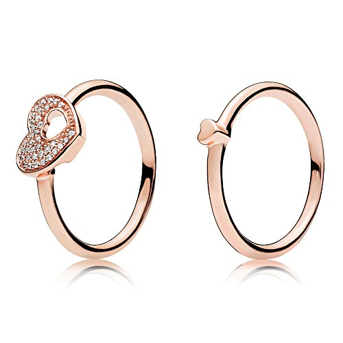 A & B Puzzle Heart Ring Set Rose Gold Plated 925 Sterling Silver with Clear CZ -Size 8