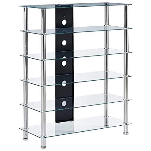 vidaXL HiFi Regal mit 5 Regalböden Rack Fernsehtisch Fernsehschrank Audio Schrank Mediaständer Board Tisch TV Möbel Transparent 90x40x113 cm Hartglas