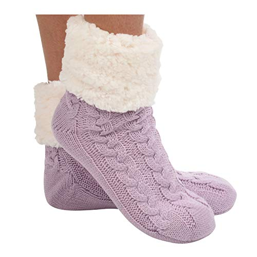 Snoozies Womens Sherpa Socks | Cuffed Cable Sherpa Socks for Women | Lavender