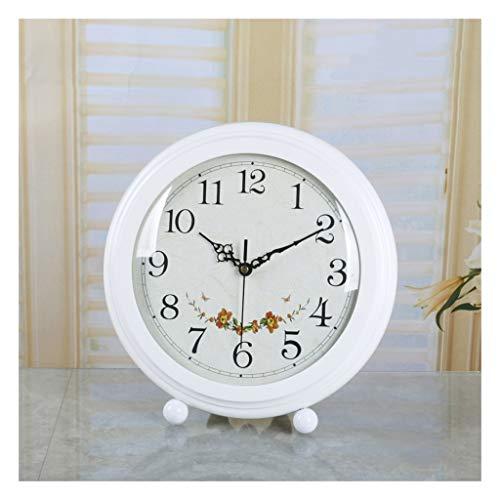 LYM - Reloj despertador digital de mesa, reloj de mesa de madera maciza, estilo retro europeo, reloj de péndulo de cuarzo, color marrón
