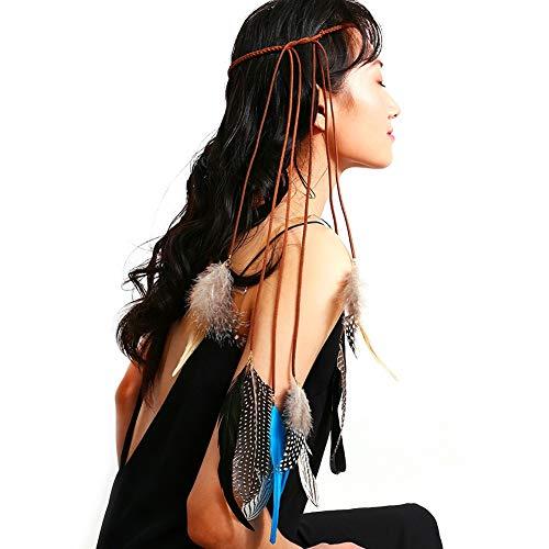 J.Memi's Accesorios para el Cabello Cadena de la Cabeza- Diadema de joyería para Mujer con Handmade Borla Pluma Colgante para Aniversario Cumpleaños Regalo,Blue