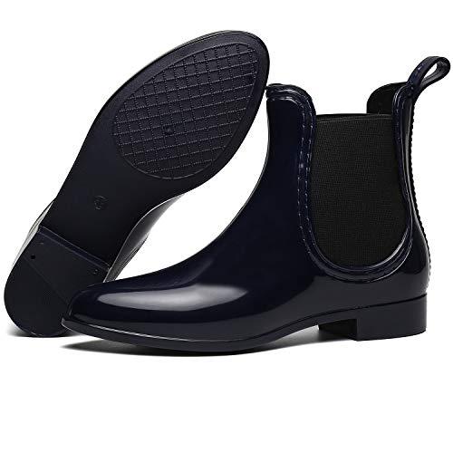 SAGUARO SAGUARO® Damen Kurzschaft Stiefel Gummistiefel Gummistiefeletten Regenstiefel Chelsea Boots,Blau - 35 EU