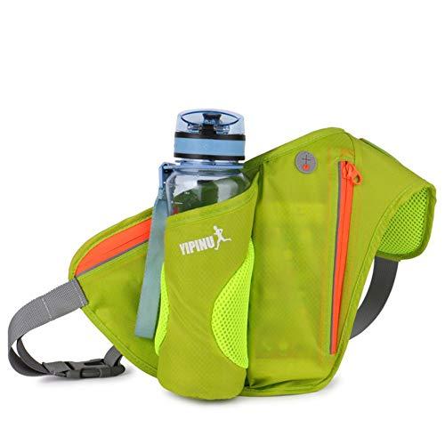 Riñonera con porta-botellas, bolso de banana de senderismo, paquete de senderismo, porta-botellas, para carreras, cinturón, con botella de agua, bolsa de plátano en curso, verde