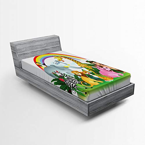 ABAKUHAUS Fauna Silvestre Sábana Elastizada, Animales bajo el Arco Iris, Suave Tela Decorativa Estampada Elástico en el Borde, 90 x 200 cm, Multicolor