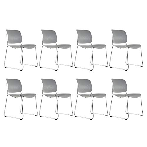 KLASIKA Reception Stacking Chair with Lumbar Support and Solid Steel Frame for Guest Home Office Conference Breakroom Set of 8 Gray
