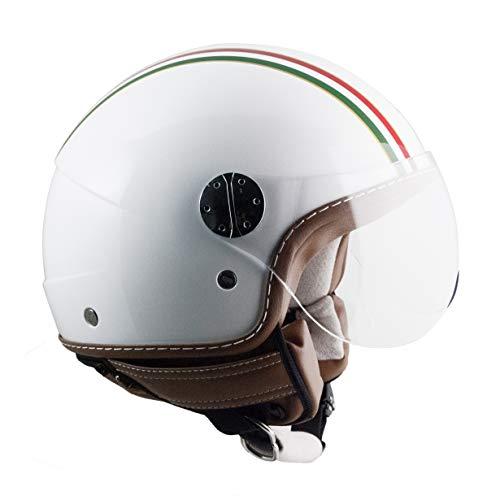 109I-FSA-14 BLANCO METAL (M) CASCO JET (ITALIA) PANTALLA CORTA