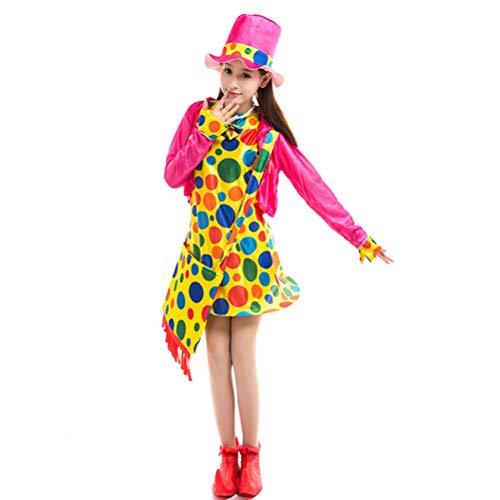KESYOODisfraces de Halloween Mujeres Niñas Circo Payaso Disfraz Cosplay Conjuntos de ropa para fiesta de disfraces