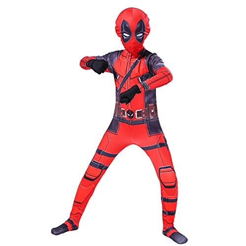 Deadpool Tights Boys Cosplay Disfraz Adulto Superhéroe Mono Carnaval Body Halloween Zentai Pascua Onesies Juego De Imaginación Trajes para Niños,Red-Kids/L/120~130cm