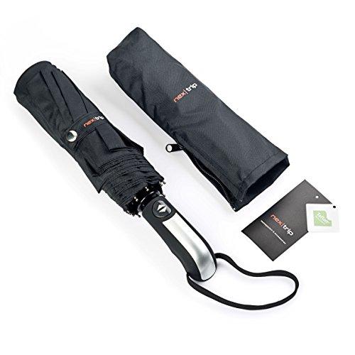 nex|trip Regenschirm Sturmfest - Taschenschirm mit Knopf Automatik - Umbrella Schirm klein - Regenschirm leicht für Damen & Herren - Taschenregenschirm Regenschirme [Schwarz]