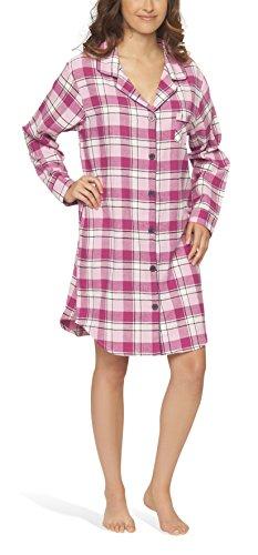 Moonline Flanell-Nachthemd Nachtkleid Nachtwäsche Sleepshirt für Damen, Farbe:pink, Größe:36-38