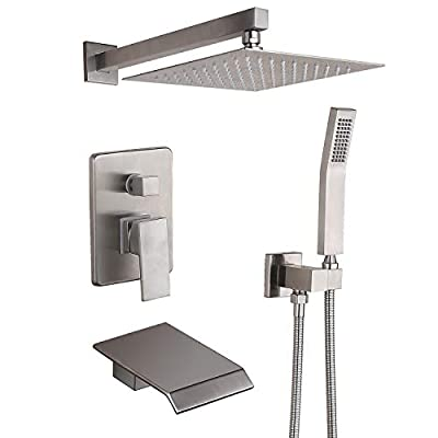 Waterfall Bathtub Shower Faucet Set Wall Mount with Rough in Valve Modern Shower Fixture Combo 10 inches Rain Showerhead Shower System Brushed Nickel