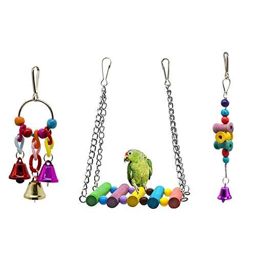Dsaren Juguetes para Pájaros Colorful Columpio para Loros A
