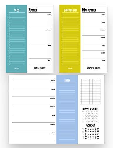 Planer Set 3-teilig / A4 Wochenplaner, A5 Tagesplaner, A5 Essensplaner - jeweils 50 Seiten