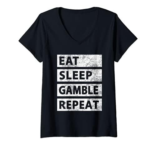 Mujer Comer sueño juego repetir casino divertido juego Camiseta Cuello V