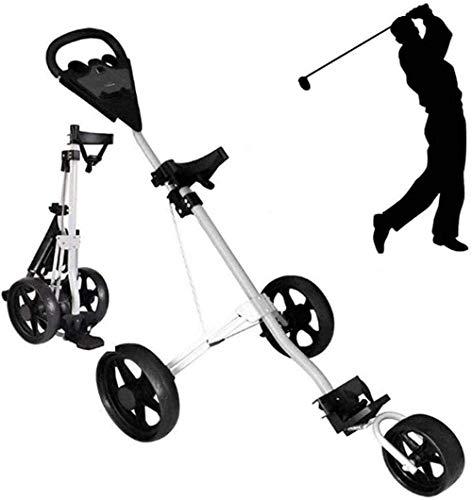 HFJKD Golf Trolley Golf Cart Leichter Faltbarer Golf Trolley 3-Rad Golf Push Cart mit Getränkehaltersitz Eine Sekunde zum Öffnen und Schließen für Junior Golfer