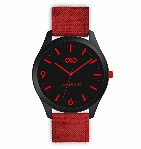 Colhour Watches–Orologio da polso unisex con cinturino in tessuto, qualità premium, progettato e realizzato in Spagna e con meccanismo giapponese Miyota by Citizen rosso