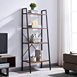 VINEXT Industrial Ladder Shelf,4 Tier Bookshelf, Indoor Plant Stand Storage Shelves, Bathroom, Living Room,Metal, and Wood Bookcase, Retro Brown