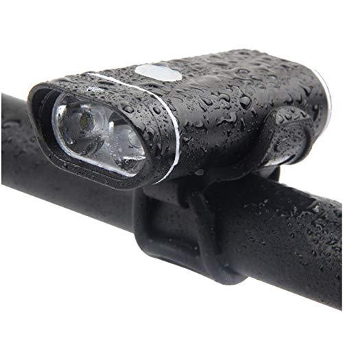 YANG WU Luz Delantera de Bicicleta, luz LED superbrillante a Prueba de Lluvia para Bicicleta, luz Nocturna de Cuatro Modos con Carga USB, Adecuada para Varios Accesorios para Montar en Bicicleta