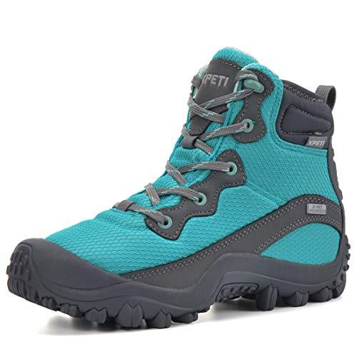 XPETI Dimo wasserdichte Wanderschuhe Damen Trekkingschuhe Damen rutschfest Bergschuhe Wanderstiefel Camping Outdoorschuhe Sommer Damen Blau EU 38