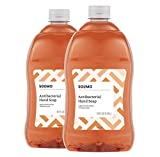 Amazon Brand - Solimo Antibacterial Liquid Hand Soap Refill, Light Moisturizing, Triclosan-Free, 56 Fluid Ounces, Pack of 2