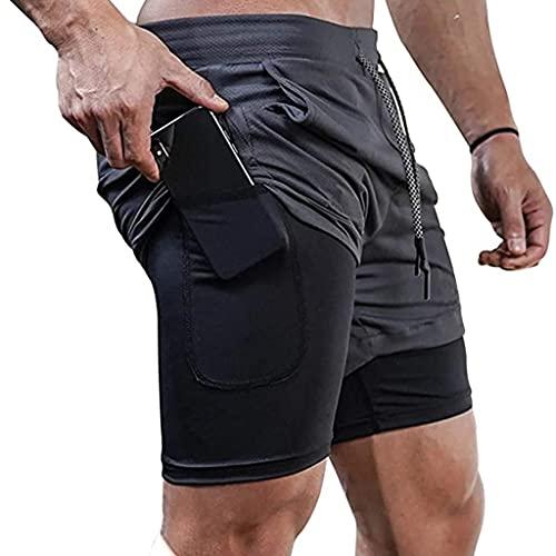 ZAYZ Entrenamiento de Hombres Gimnasio Atlético Pantalones Cortos para Correr 2 En 1 con Bolsillos Secado Rápido Ligero, te Permiten Entrenar Fácilmente Días Consecutivos (Color : Gray, Size : M)