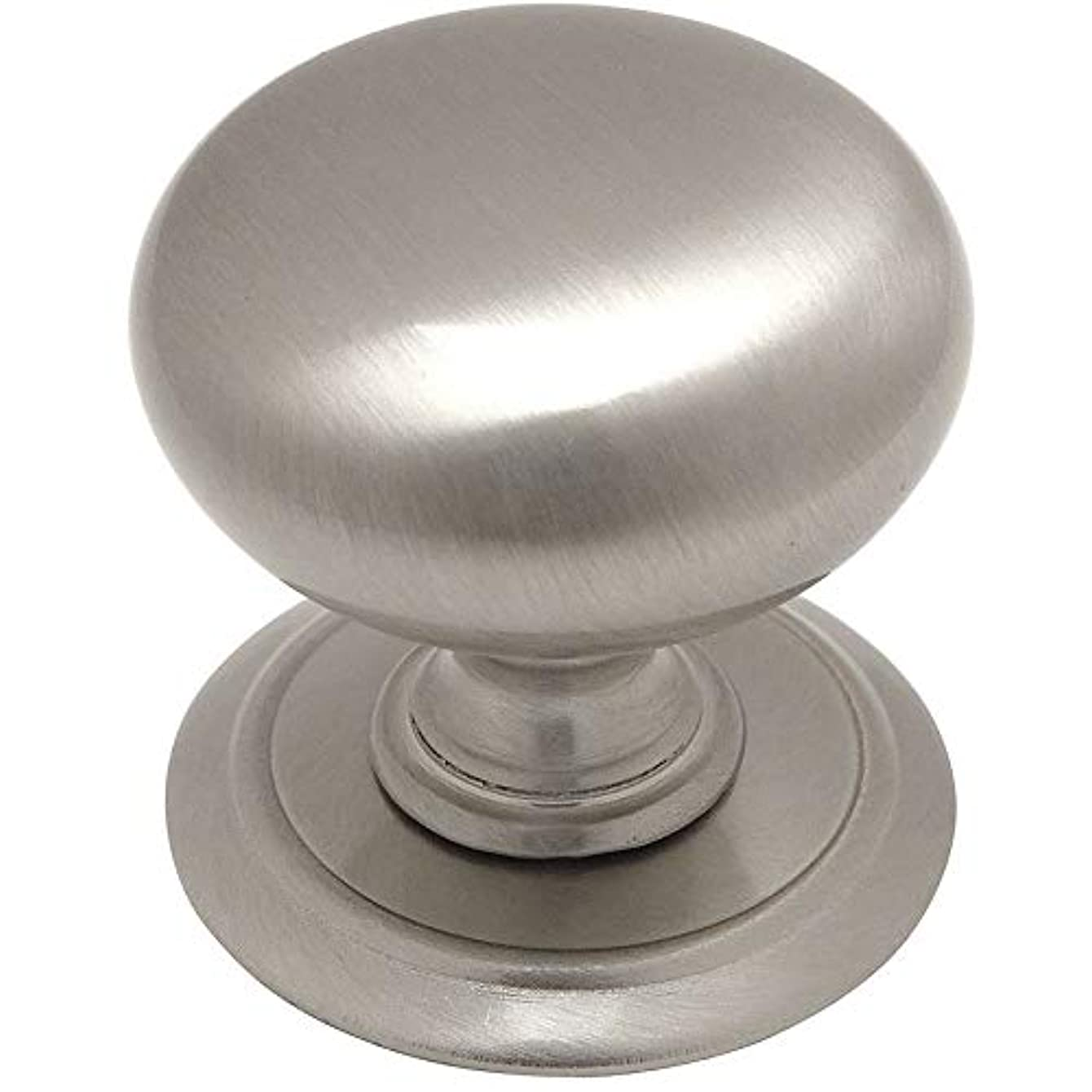 25 Pack - Cosmas 6542SN Satin Nickel Round Cabinet Hardware Knob with Backplate - 1-1/4