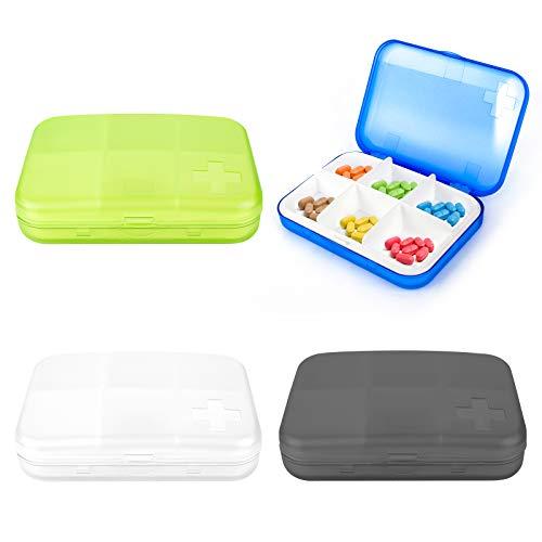 Jubaopen 4 st bärbar medicinlåda resor medicin organiserare låda fickstorlek pillerlåda plast 6-fack pillerlåda för vitaminer aspirin tablett medicin kosttillskott (9,2 × 6,5 × 2,2 cm, 4 färger)
