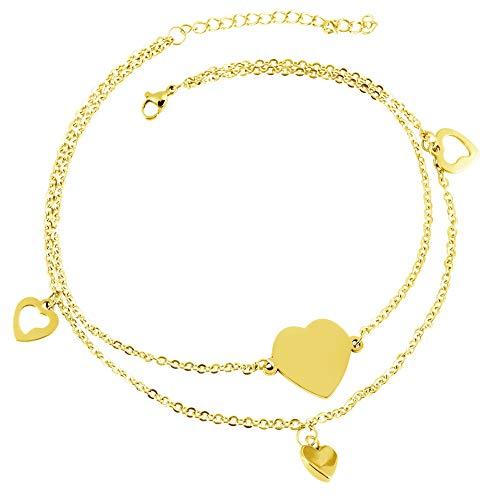 Akzent Damen - Edelstahl Fußkette Goldfarbig Herz 26+5 cm Fußkettchen