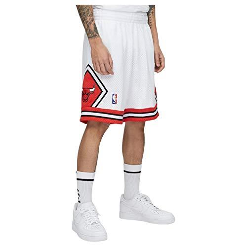 Mitchell & Ness - Pantaloncini NBA Swingman Chicago Bulls con tasche bianco/rosso M