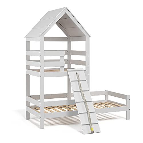 VitaliSpa Kinderbett Teddy 90x200cm Spielturm Bett Spielbett Jugendbett Hausbett weiß