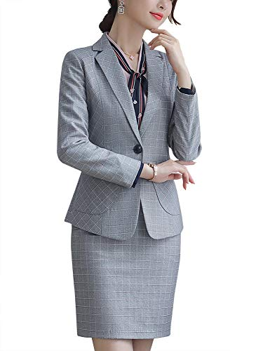 LISUEYNE Blazer voor dames, geruit, 2-delig, voor kantoor, dames, business pak, slim