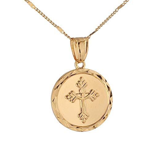 YHHZW Collar de oro de 24 quilates con medalla redonda católica Jesús Cruz joyería Cristo Crucifijo collar