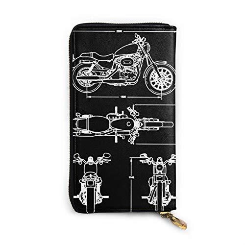 Monedero largo para mujer, diseño vintage de motocicleta